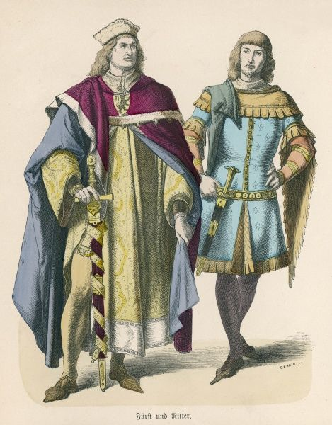 Knight: cote-hardie & cape with dentate border (dagged), knightly girdle, dagger, piked shoes. Lord: cloak or mantle, cape with hood & super-tunic with side vent