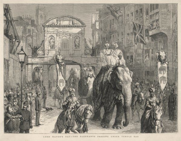 Elephants are part of the Lord Mayor of London's 1876 procession : they are shown passing beneath Temple Bar, Fleet Street