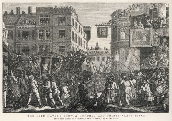 Lord Mayor of London's Show moving through the city in 1746
