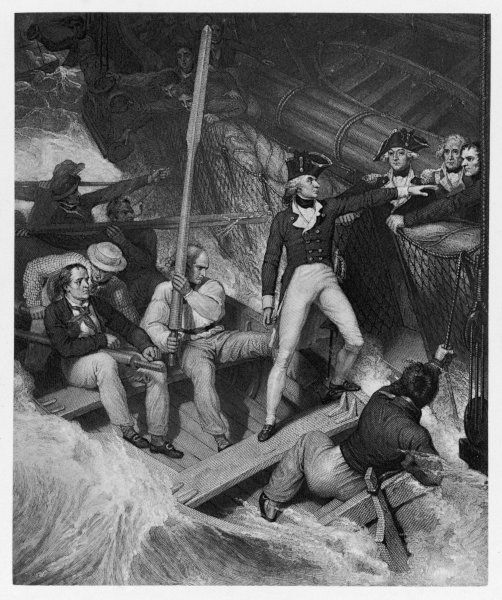HORATIO, LORD NELSON English naval officer: boarding an American privateer in a violent gale, while a Lieutenant on the 'Lowestoft' in 1777
