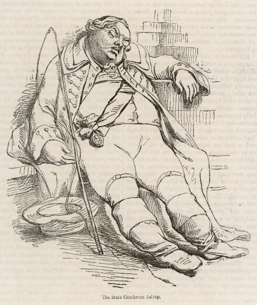 'The State Coachman asleep' - FREDERICK, LORD NORTH. statesman, depicted in repose