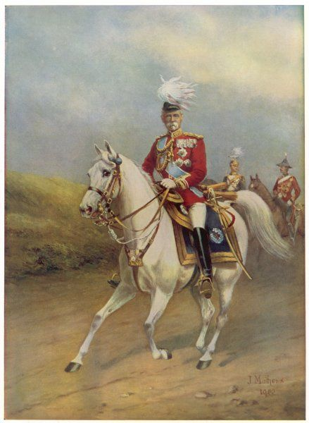 FREDERICK SLEIGH 1st EARL ROBERTS British soldier riding his arab charger, Volonel, which he rode to Kandahar in 1879 during the Afghan conflict
