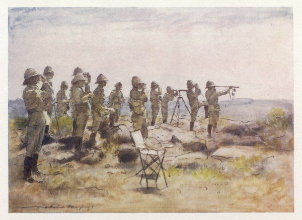 FREDERICK SLEIGH 1st EARL ROBERTS British soldier and his staff watching the Battle of Osfontein during the Boer War