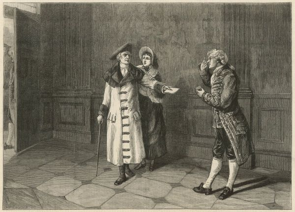 A finely dressed gentleman holds out a letter to a servant, who bows in his presence