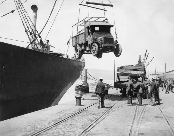 A lorry being delivered at the RASC MT (Royal Army Service Corps Motor Transport) Depot in Rouen, northern France, during the First World War. Date: May 1918