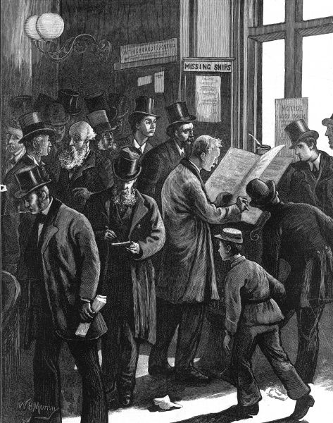 Engraving showing a group of Lloyd's underwriters consulting the Loss Book in their offices, after a bad spell of storms in the winter of 1876-7