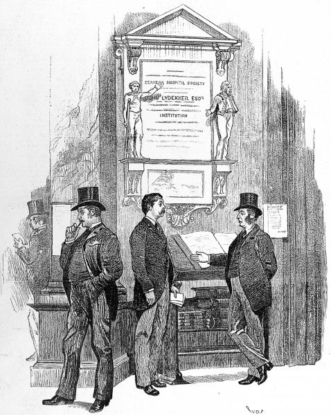 Illustration showing the Loss Book at Lloyds of London, the insurance company, 1890
