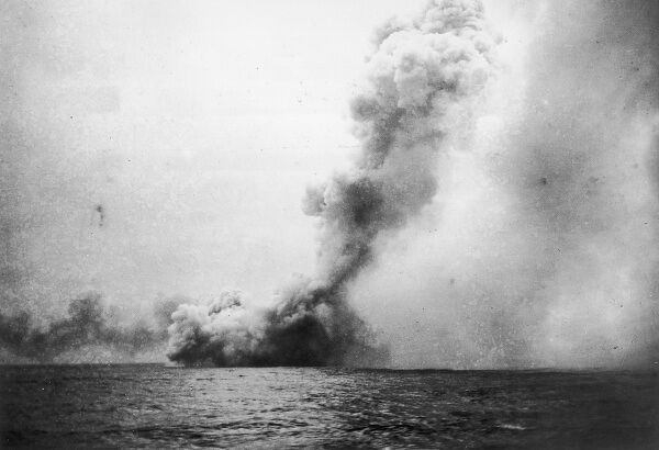 The battle cruiser 'Queen Mary' explodes during the Battle of Jutland, World War One