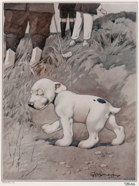 A smug looking Bonzo, the comic canine creation of George Studdy in The Sketch magazine, knows exactly where his has hidden the golf ball his owner is so anxiously searching for. Credit line must read: Estate of George Studdy/Gresham Marketing Ltd