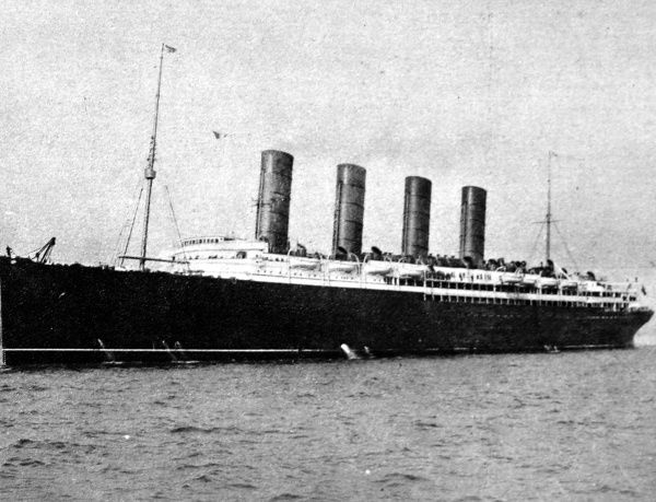 Photograph of the 'Lusitania', 'a floating palace', torpedoed and sunk by a German U-boat on May 7th 1915 with the loss of 1200 lives. As well as carrying a large cargo of munitions, the passengers included 100 neutral Americans