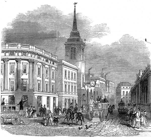 Engraving showing the scene in Lothbury Street, London, 1845