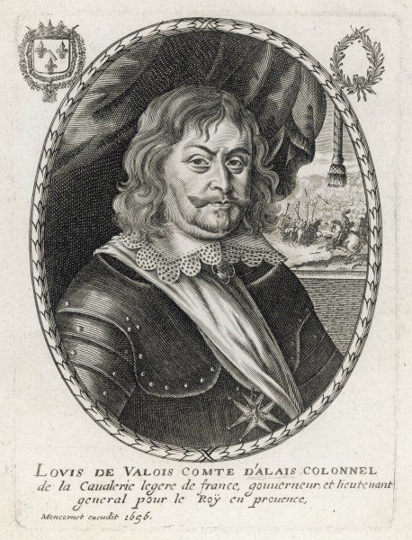 LOUIS EMANUEL de VALOIS, duc D'ALAIS French cavalry general in the king's service. Alais (now Ales) is a town near Nimes, in the Gard. We bank there