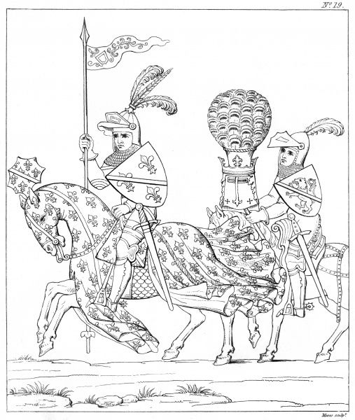 LOUIS II, duc de BOURBON Chamberlain of France, riding with the Sieur de Beaujeu as his Esquire, carrying his helmet adorned with a peacock's tail. Date: 1337 - 1410