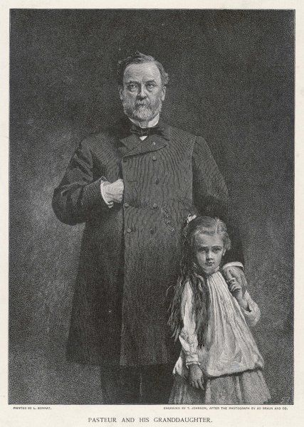 LOUIS PASTEUR French chemist and microbiologist with his granddaughter