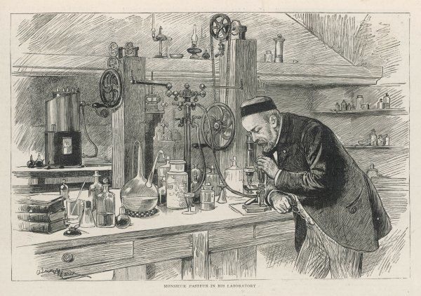LOUIS PASTEUR French chemist and microbiologist in his laboratory