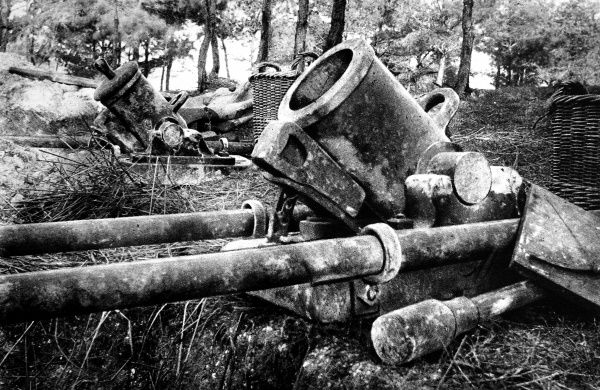 Two 'Louis-Phillippe' mortar employed in the French trenches