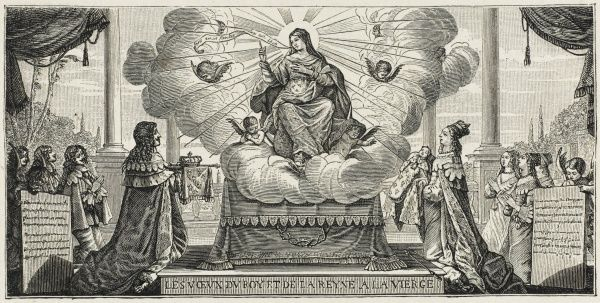 Louis XIII dedicates France to Jesus's mother Mary : she is plainly ever so delighted