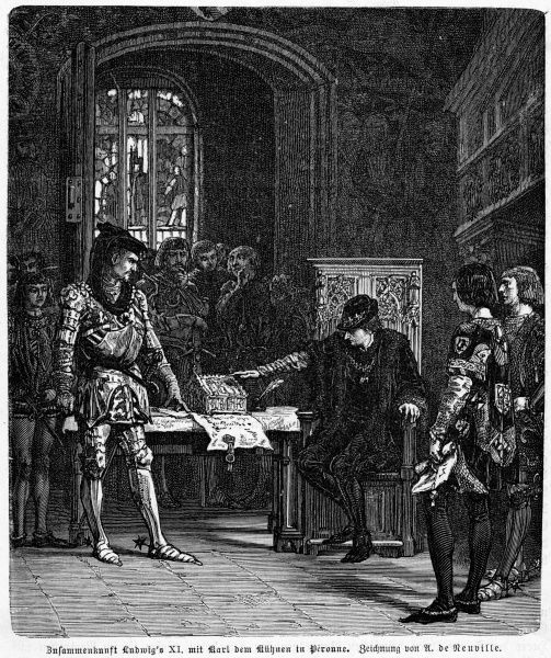 Louis XI meets Charles le Temeraire, duc de Bourgogne, at Peronne : each plans to trick the other, but Charles is the trickier, exacting severe terms from the king