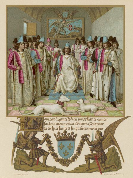 LOUIS XII, king of France, presides over an 'assize' of the Ordre de Saint-Michel