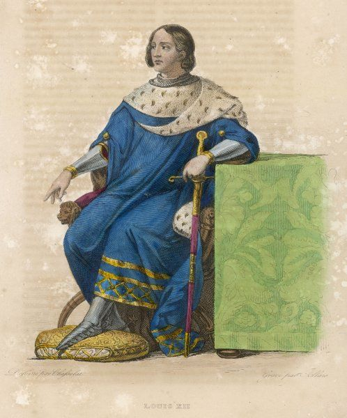 LOUIS XII king of France seated with a sword