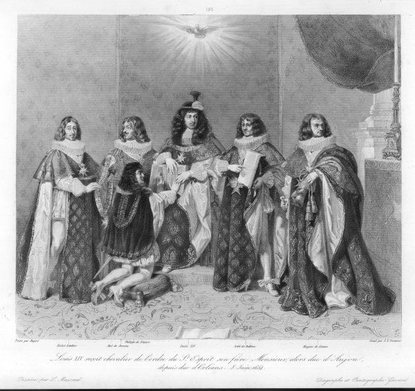 Louis XIV, together with a group of top courtiers, receives his brother, Philippe de France, duc d'Anjou, later duc d'Orleans, as a chevalier of the Ordre du Saint Esprit