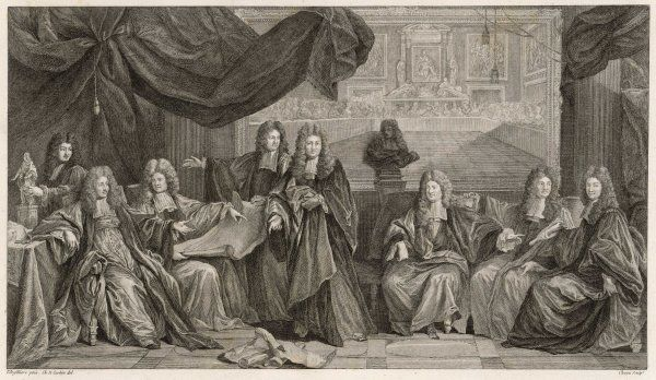 LOUIS XIV 'LE ROI SOLEIL' entitled 'the convalescence of Louis XIV' this shows him (2nd from left) discussing state affairs with his counsellors