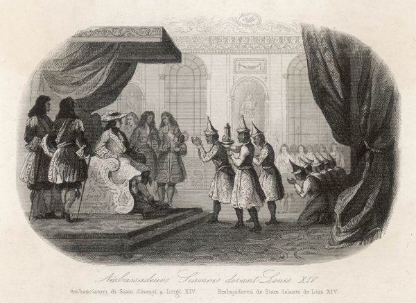 King Louis XIV receives Siamese Ambassadors from his throne