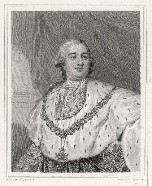 Louis XVI, King of France (1754-1793, reigned 1774-1792). A half-length portrait in royal robes