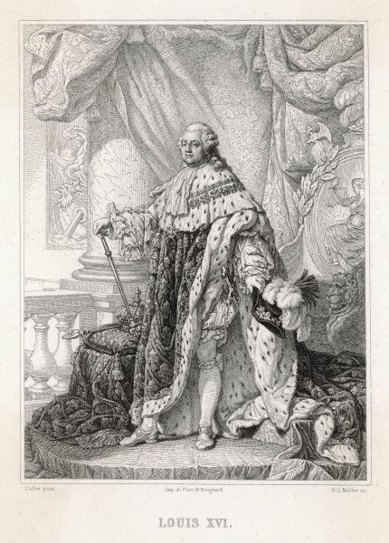 Louis XVI, King of France (1754-1793, reigned 1774-1792). A full length portrait in royal robes