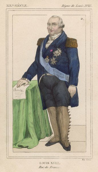 LOUIS XVIII OF FRANCE - French Monarch with the Constitution granted by himself at hand