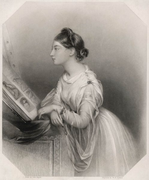 LOUISA STUART, marchioness of WATERFORD wife of Henry, third marquess looking at a picture-book