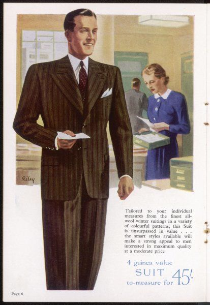 A businessman in smart brown lounge suit with single- breasted lounging jacket, creased trousers & tie. Just the thing for the office