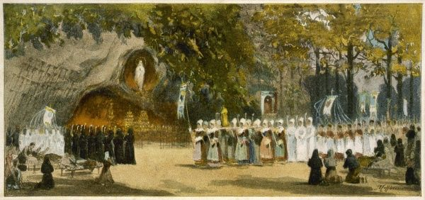 A day-time procession approaches the grotto : the rituals and communal demonstrations of faith were established soon after the apparition