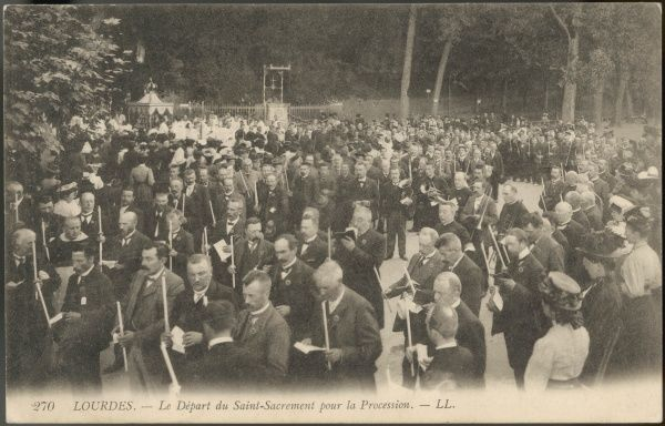 A procession at Lourdes, near the Grotto