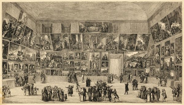 Visitors to the Louvre admire the large collection of oil paintings on display at the Salon du Louvre in 1785