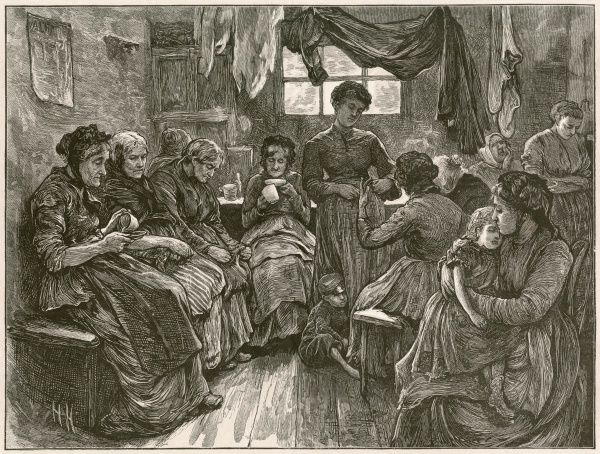 A poor lodging house for women in St. Giles, London. Old and young are crowded in a small room and laundry hangs from the ceiling. A couple of elderly women are having a cup of tea. This is a study from life