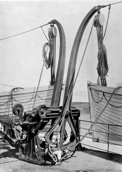 A view of the mechanism by which the Titanic lifeboats were lowered, showing a pair of 'Welin Davits' on board