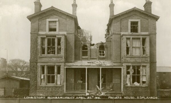 Lowestoft - Graphic illustration of the damage caused by bombardment to a private house on the Esplanade from the German Fleet of April 25th 1916