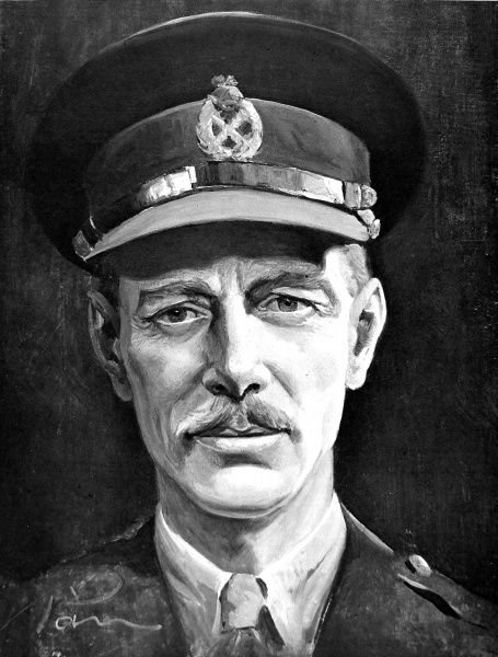 Painting showing Lieutenant-General Sir Miles Dempsey (1896-1969), the British Army Commander, pictured when leading the British Second Army, 1945. After the Second World War Dempsey became chairman of the Racecourse Betting Control Board