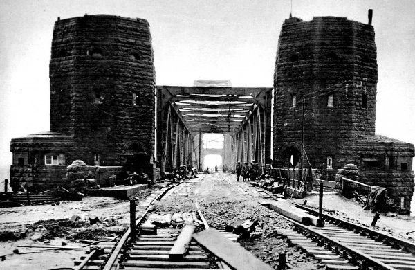Photograph of the Ludendorff Bridge, viewed from the Remagen end of the bridge, 1945. This bridge was captured by troops of the 9th Armoured Division of the US First Army, who were the first Allied soldiers to cross the River Rhine on 7th March 1945