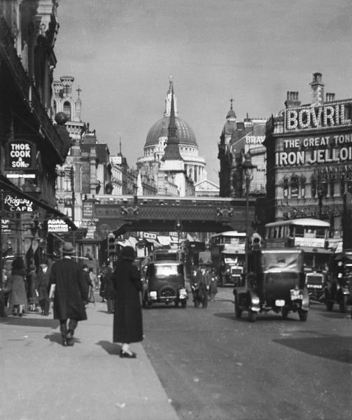 View from Fleet Street looking towards Ludgate Circus, Ludgate Hill and St. Paul's Cathedral, London