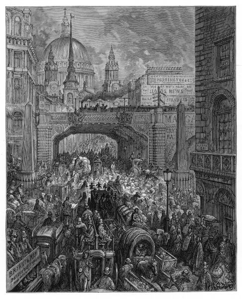 Heavy traffic on Ludgate Hill, showing the railway bridge and St Paul's Cathedral