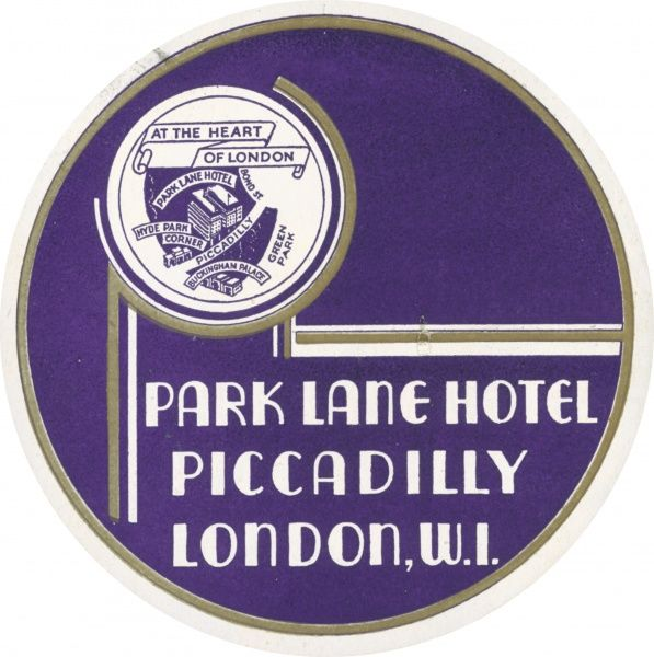 Luggage label from the Park Lane Hotel, Piccadilly, London