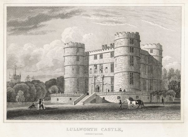 The front of Lulworth Castle, with people strolling in the grounds and a groom leading horses