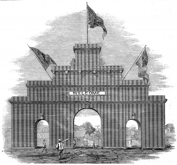 Engraving showing the Lumberer's Arch at Ottawa, erected on the occasion of the Prince of Wales's visit to Canada, 1860