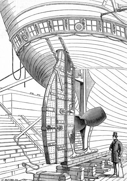 Engraving of 'Lumley's Patent Rudder', as exhibited at the Paris International Exhibition of 1867