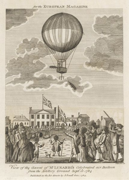 'View of the Ascent of Mr LUNARDI's celebrated air Balloon from the Artillery Ground' (London)
