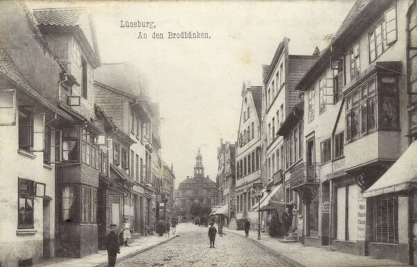 Luneburg - a town in the German state of Lower Saxony. The Town Hall can be seen at the end of the street. Date: 1905