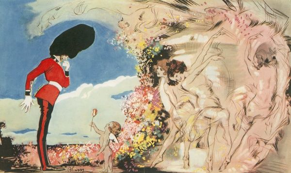 Coloured fantasy illustration by Edmund Blampied showing a soldier being lured by a cupid and fairy like girls against a spring background