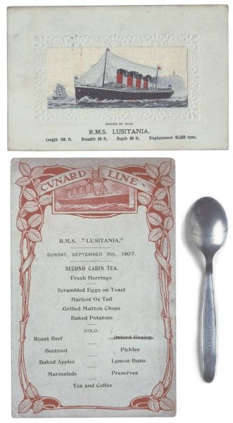 1907 cabin tea menu from the passenger liner Lusitania which was sunk eight years later in May 1915 when hit by a torpedo by a German U-boat during WWI